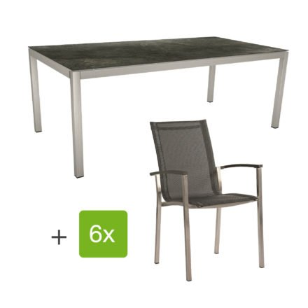 """Stern Gartenmöbel-Set """"Evoee"""", Gestelle Edelstahl, Sitzfläche Textilgewebe silbergrau, Tischplatte HPL Dark Marble"""