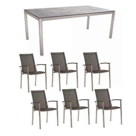 "Stern Gartenmöbel-Set ""Evoee"", Gestelle Edelstahl, Sitzfläche Textilgewebe silbergrau, Tischplatte HPL Metallic Grau"