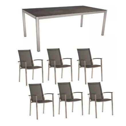 """Stern Gartenmöbel-Set """"Evoee"""", Gestelle Edelstahl, Sitzfläche Textilgewebe silbergrau, Tischplatte HPL Nitro"""