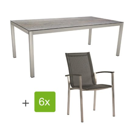 "Stern Gartenmöbel-Set ""Evoee"", Gestelle Edelstahl, Sitzfläche Textilgewebe silbergrau, Tischplatte HPL Smoky"