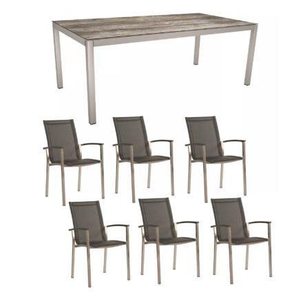 "Stern Gartenmöbel-Set ""Evoee"", Gestelle Edelstahl, Sitzfläche Textilgewebe silbergrau, Tischplatte HPL Tundra Grau"