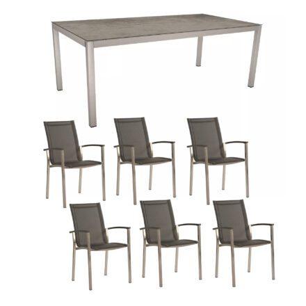 "Stern Gartenmöbel-Set ""Evoee"", Gestelle Edelstahl, Sitzfläche Textilgewebe silbergrau, Tischplatte HPL Zement"
