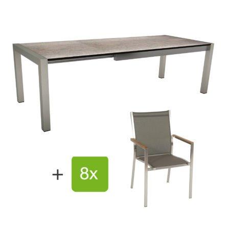 """Stern Gartenmöbel-Set mit Stuhl """"Cardiff"""" und Ausziehtisch Standard, Gestelle Edelstahl, Sitz Textil taupe, Armlehnen Teak, Tischplatte HPL Smoky"""