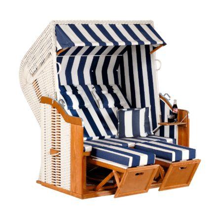 """Strandkorb """"Rustikal 250 XL Plus"""" von SunnySmart, Halblieger, Geflecht weiß, Dessin 1080"""