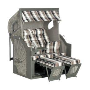 "Strandkorb ""Rustikal 405 Z Comfort XL"" von SunnySmart, Korpus Pinienholz grau lackiert, Geflecht stone-grey, Dessin 1217"