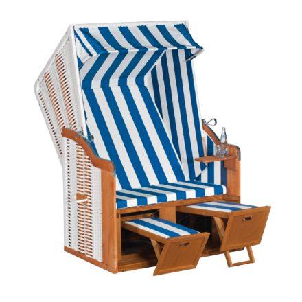 "SunnySmart Strandkorb ""Rustikal 50 Basic"", Kunststoffgeflecht weiß, PVC-Stoff-Nr. 200"