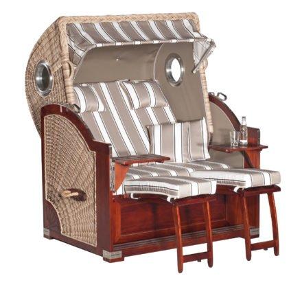 "SunnySmart Strandkorb ""Rustikal 500 Plus Comfort"", Mahagoni, Geflecht antik-weiß, Dessin 1215"