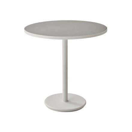 """Cane-line Bistrotisch """"Go"""", Gestell Aluminium weiß, Tischplatte Aluminium weiß/Keramik hellgrau, ø 75 cm"""