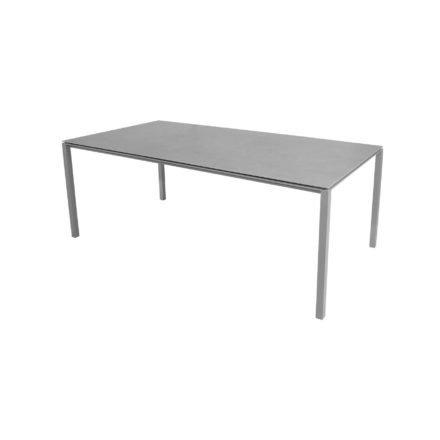"Cane-line Gartentisch ""Pure"", Gestell Aluminium hellgrau, Platte Keramik concrete-grey, 200x100 cm"