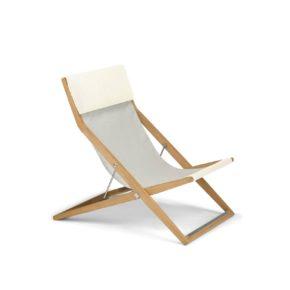 """DEDON Deckchair """"SEAYOU"""", Gestell Teakholz, Bespannung Sail dove"""