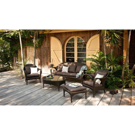 """DEDON Kollektion """"TANGO"""", 3er-Sofa, Loungesessel, Hocker und Kaffeetisch, Geflecht DEDON Faser bronze"""