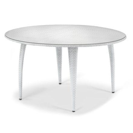 """DEDON Esstisch rund 130cm """"TANGO"""", Gestell Aluminium, Geflecht DEDON Faser basalto, Tischplatte Glas"""