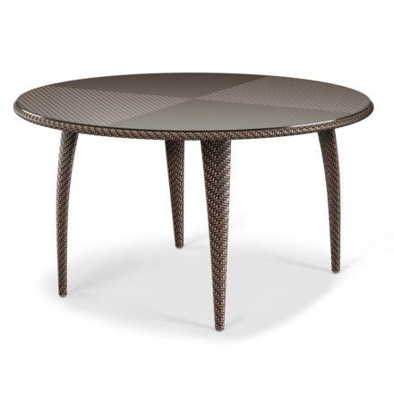 """DEDON Esstisch rund 130cm """"TANGO"""", Gestell Aluminium, Geflecht DEDON Faser bronze, Tischplatte Glas"""