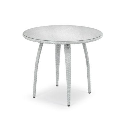 """DEDON Esstisch rund 90cm """"TANGO"""", Gestell Aluminium, Geflecht DEDON Faser basalto, Tischplatte Glas"""