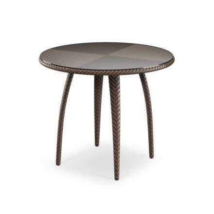 """DEDON Esstisch rund 90cm """"TANGO"""", Gestell Aluminium, Geflecht DEDON Faser bronze, Tischplatte Glas"""
