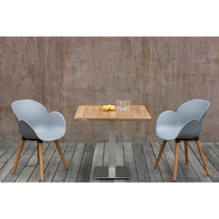 """Niehoff Gartenstuhl """"Sushi"""", Vier-Fuß-Gestell Teakholz, Sitzschale Kunststoff grau und Gartentisch """"Bistro"""", Gestell Edelstahl, Tischplatte Teakholz"""