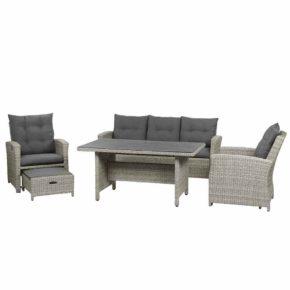 """Siena Garden Casual Dining Set """"Palermo"""", Gestell Aluminium, Gardino-Geflecht grau, inkl. Sitz- und Rückenkissen anthrazit"""