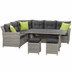 "Siena Garden Casual Dining Set ""Marino"", 5 tlg. Gestell Aluminium, Fläche Gardino®-Geflecht grau, inkl. Sitz- und Rückenkissen + Dekokissen"