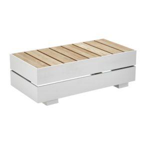 "Solpuri ""Boxx"" Tisch-Modul XS, Aluminium weiss mit Teakholz"