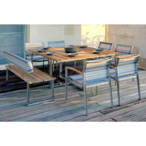 Zebra Gartenmöbel-Set mit Stuhl Setax, Bank Quadux und Tisch Quadux