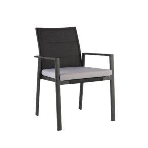 """Niehoff Gartenstuhl """"Nancer"""", Gestell Aluminium anthrazit, Sitz- und Rückenfläche Batyline®-Gewebe schwarz, Sitzkissen Olefin grau"""