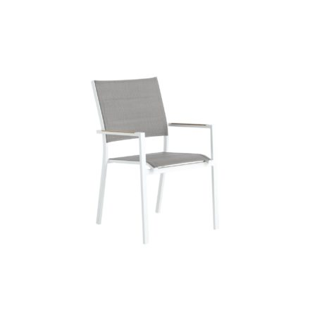 """Niehoff Gartenstuhl """"Nantes"""", Gestell Aluminium weiß, Sitz- und Rückenfläche Batyline®-Textilgewebe taupe, Armlehnen mit Teakholz-Einlage"""