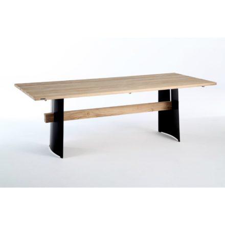 """Niehoff Gartentisch """"Brava"""", Gestell Stahl Winkelwange, Teakholz-Steg, Tischplatte Teakholz"""