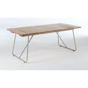 """Niehoff Gartentisch """"Casablanca"""", Edelstahl-Bügelgestell mit schräger Stütze, Tischplatte Teakholzlamellen"""