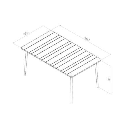 """Niehoff Gartentisch """"Luna"""", Gestell Aluminium anthrazit, Tischplatte Teakholz-Lamellen, Größe 160 cm"""