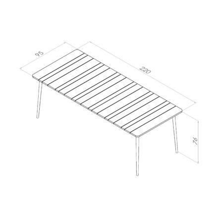 """Niehoff Gartentisch """"Luna"""", Gestell Aluminium anthrazit, Tischplatte Teakholz-Lamellen, Größe 220 cm"""