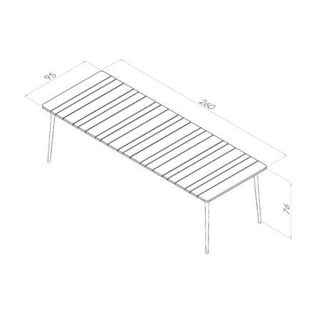 """Niehoff Gartentisch """"Luna"""", Gestell Aluminium anthrazit, Tischplatte Teakholz-Lamellen, Größe 260 cm"""
