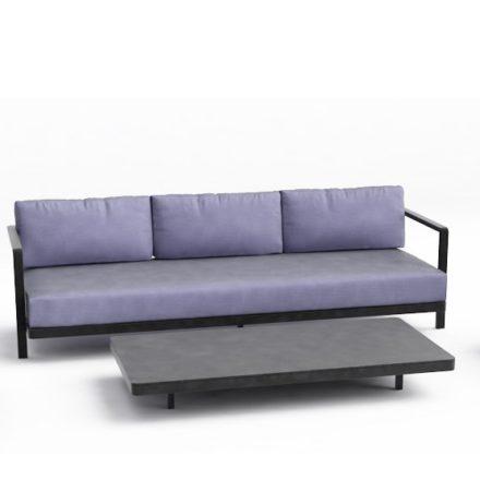 """Royal Botania 3-Sitzer Loungesofa """"Alura"""", Gestell Aluminium schwarz, Textilgewebe schwarz"""