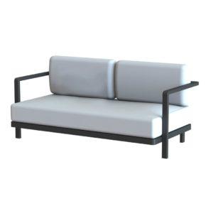 Royal Botania 2-Sitzer Loungesofa, Gestell Aluminium schwarz, Textilgewebe schwarz