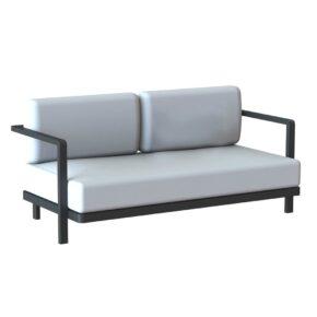 Royal Botania 2-Sitzer Loungesofa, Gestell Aluminium schwarz