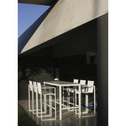 """Royal Botania Barhocker """"Alura"""", Gestell Aluminium weiß, Sitzflächen-Bespannung Textilgewebe weiß und Bartisch """"Taboela 200H"""""""