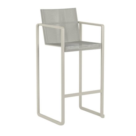 "Royal Botania Barhocker ""Alura"", Gestell Aluminium sand, Sitzflächen-Bespannung Textilgewebe pearl grey"