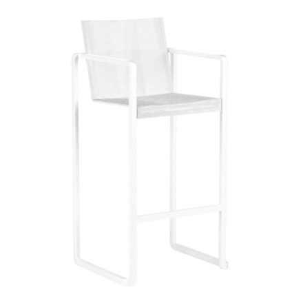 "Royal Botania Barhocker ""Alura"", Gestell Aluminium weiß, Sitzflächen-Bespannung Textilgewebe weiß"