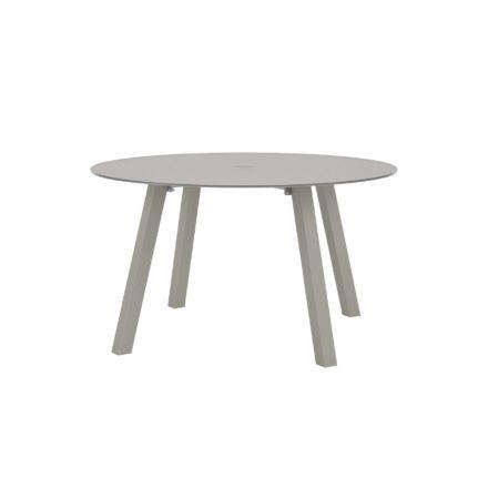 """Royal Botania """"Discus 130"""" Gartentisch, Gestell Aluminium sand, Tischplatte Glas pearl grey, mit Schirmloch"""