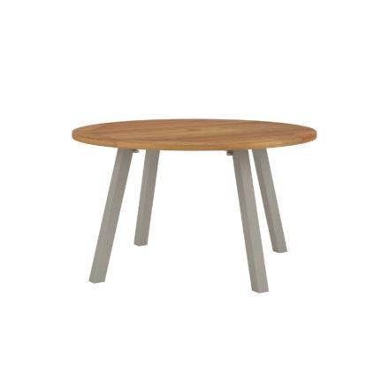 """Royal Botania """"Discus 130"""" Gartentisch, Gestell Aluminium sand, Tischplatte Teak, mit Schirmloch"""