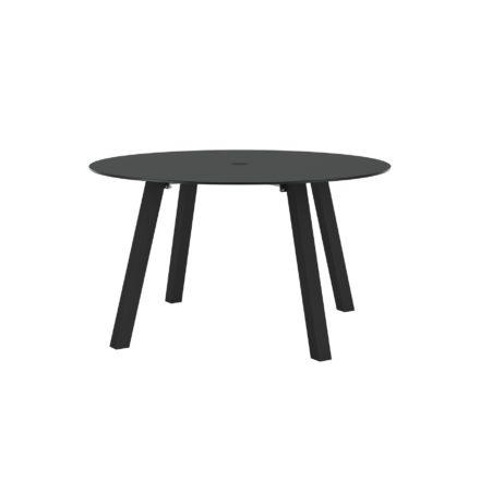"""Royal Botania """"Discus 130"""" Gartentisch, Gestell Aluminium schwarz, Tischplatte Glas schwarz, mit Schirmloch"""