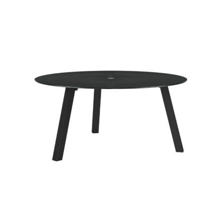 """Royal Botania """"Discus 160"""" Gartentisch, Gestell Aluminium schwarz, Tischplatte Glas schwarz, mit Schirmloch"""
