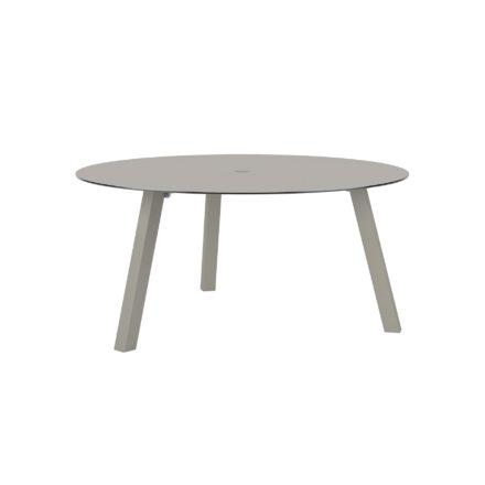 """Royal Botania """"Discus 160"""" Gartentisch, Gestell Aluminium sand, Tischplatte Glas pearl grey, mit Schirmloch"""