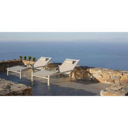 "Royal Botania Sonnenliege ""Alura"", Gestell Aluminium sand, Sitzflächen-Bespannung Textilgewebe pearl grey"