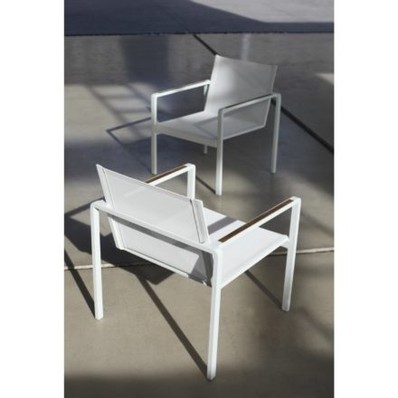 "Royal Botania Loungesessel ""Alura"", Gestell Aluminium weiß, Sitzflächen-Bespannung Textilgewebe weiß, Armlehnen Teak"