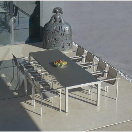 "Royal Botania Stapelsessel ""Alura"", Gestell Aluminium sand, Sitzflächen-Bespannung Textilgewebe pearl grey und Gartentisch ""Taboela 240"""