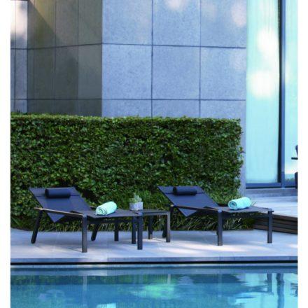 "Royal Botania Sonnenliege ""Alura"", Gestell Aluminium schwarz, Sitzflächen-Bespannung Textilgewebe schwarz"