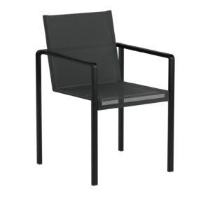 """Royal Botania Stapelsessel """"Alura"""", Gestell Aluminium schwarz, Sitzflächen-Bespannung Textilgewebe schwarz"""