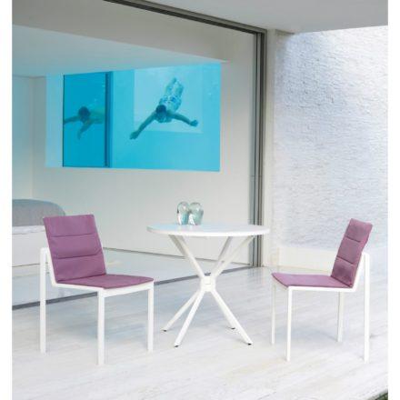 """Royal Botania Stapelsessel """"Alura"""", Gestell Aluminium weiß, Sitzflächen-Bespannung Textilgewebe weiß mit Klapptisch """"Traverse"""", Gestell Aluminium weiß, Tischplatte Keramik"""