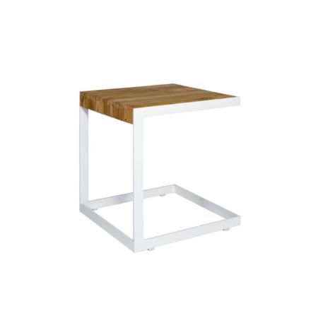 """Jati&Kebon Beistelltisch """"Vannes"""", Gestell Aluminium weiß, Tischplatte Teakholz"""