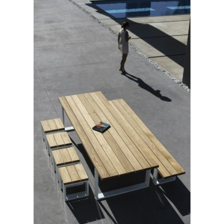 "Royal Botania Serie ""Vigor"", Gestell Aluminium weiß, Tischplatte/Sitzfläche Teakholz"
